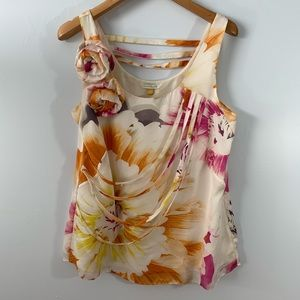 Leifsdottir . Floral Sleeveless Silk Blouse . 6